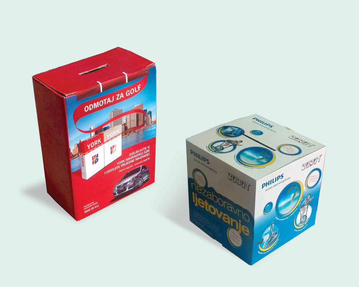 Kartonske kutije sa štampom u punom koloru namijenjene za ubacivanje kupona za nagradne igre.