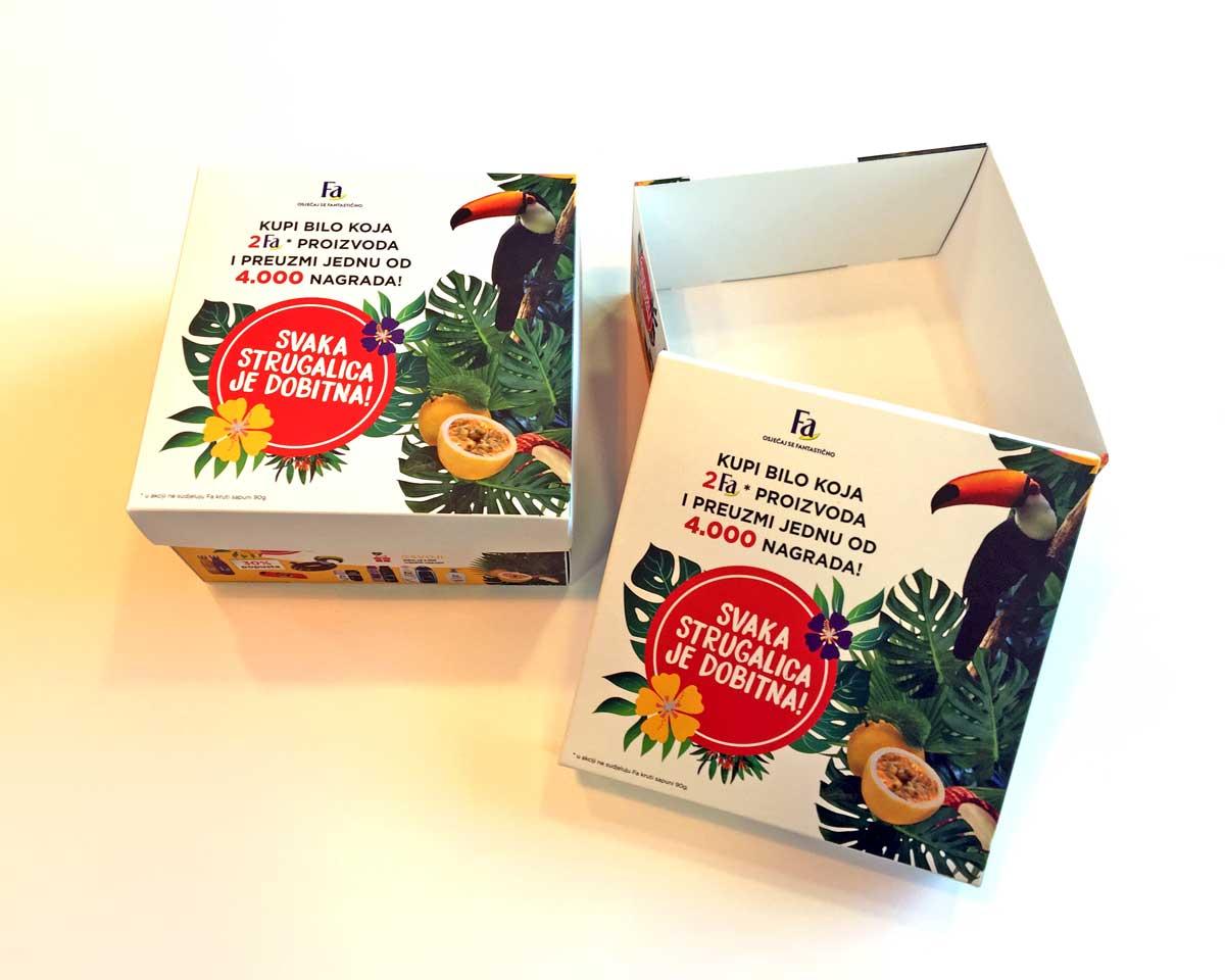 Kutija sa poklopcem za grebalice za Fa nagradnu igru.